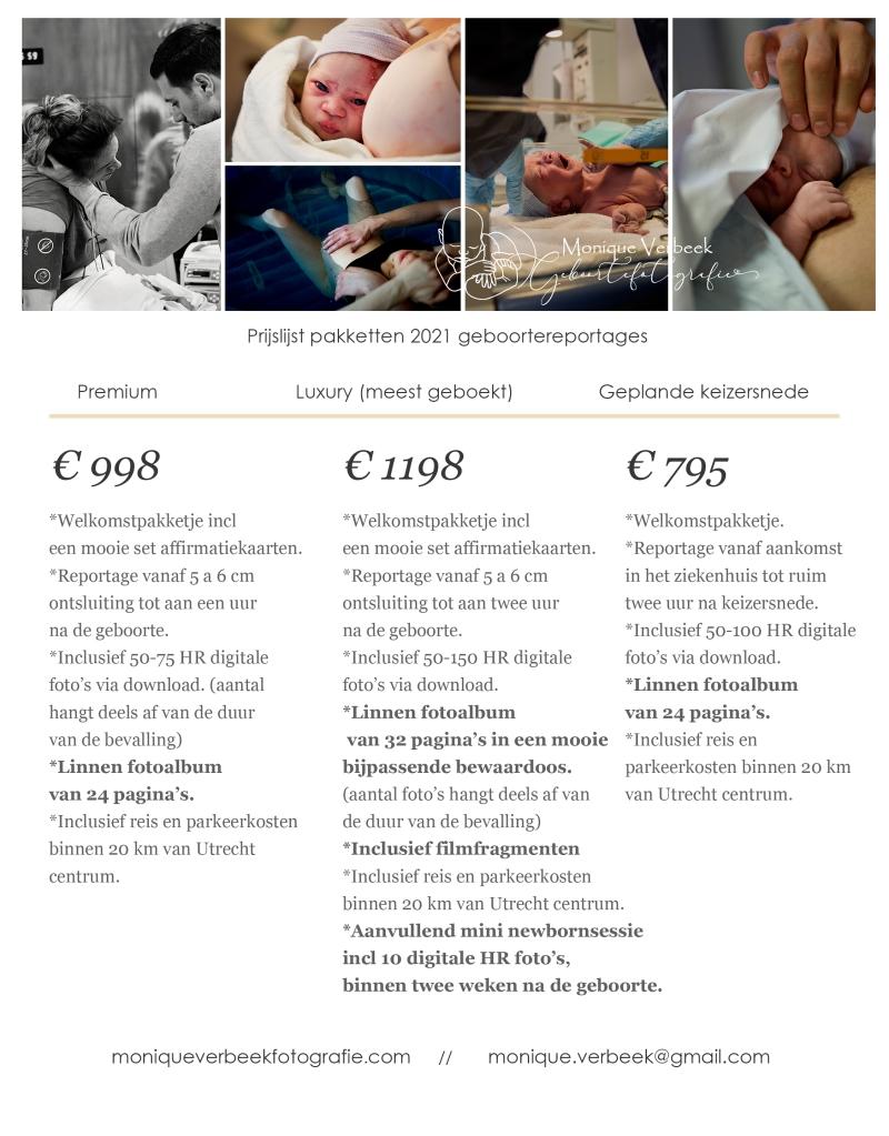 prijs geboortereportage kosten bevalling fotografie